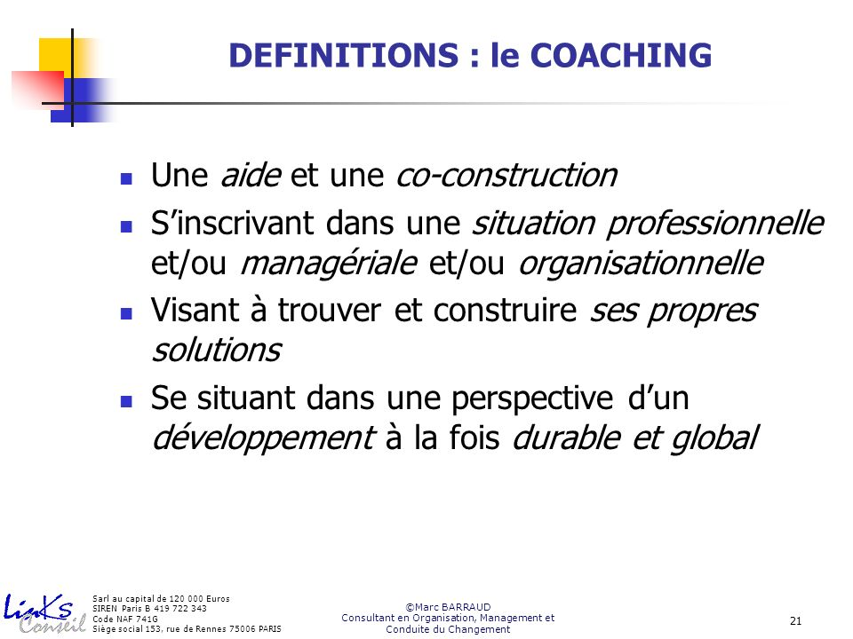 DEFINITIONS : le COACHING