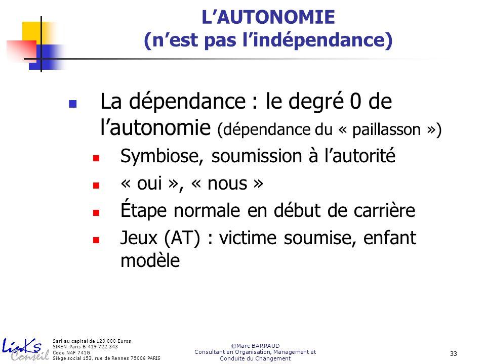 L'AUTONOMIE (n'est pas l'indépendance)