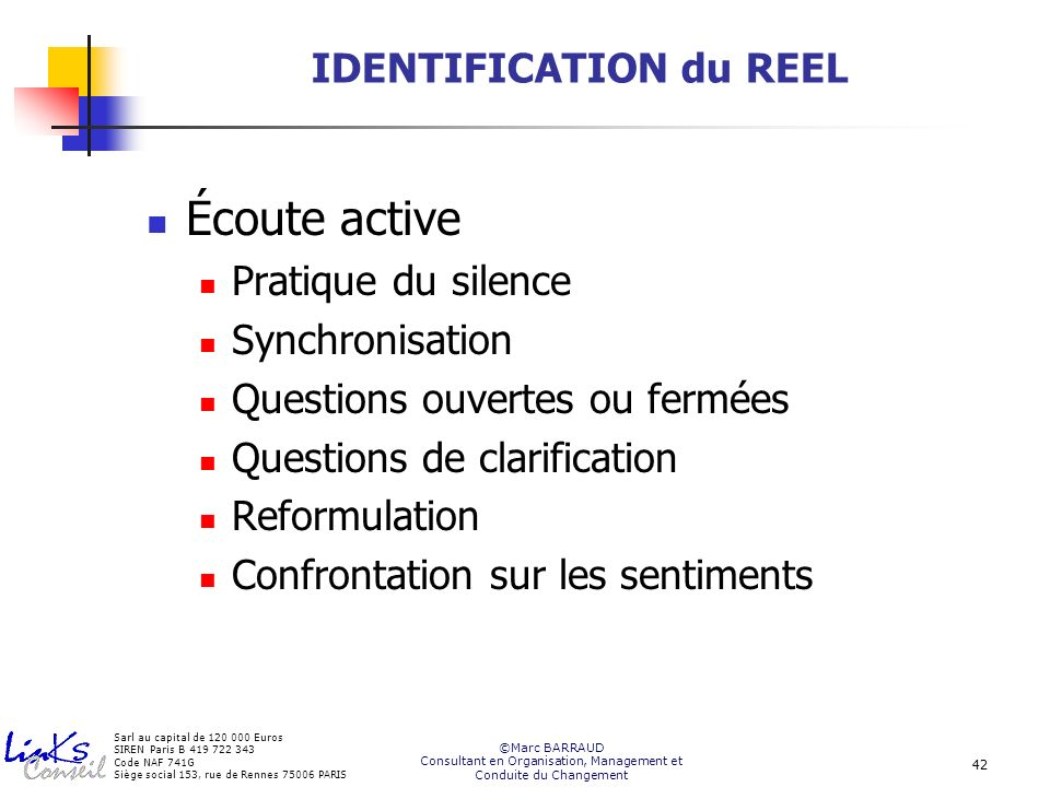 IDENTIFICATION du REEL