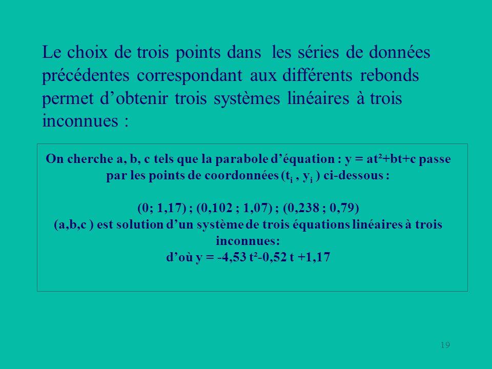Le choix de trois points dans les séries de données précédentes correspondant aux différents rebonds permet d'obtenir trois systèmes linéaires à trois inconnues :