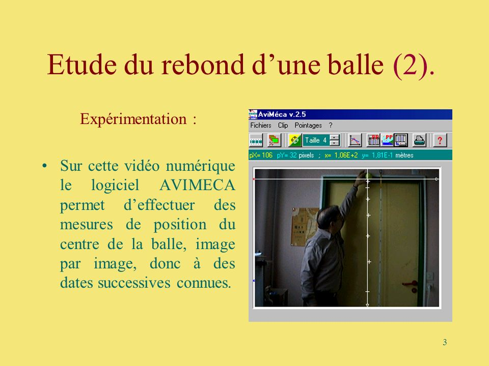 Etude du rebond d'une balle (2).