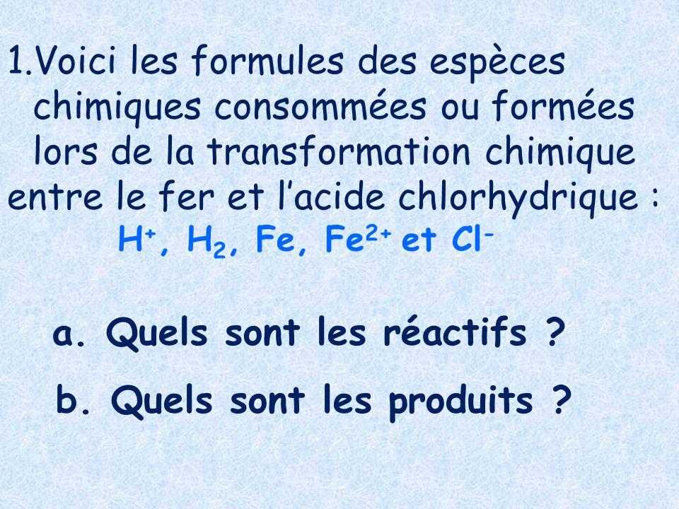 1.Voici les formules des espèces chimiques consommées ou formées lors de la transformation chimique