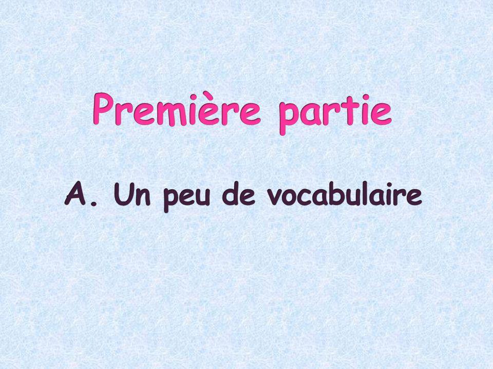 Première partie A. Un peu de vocabulaire