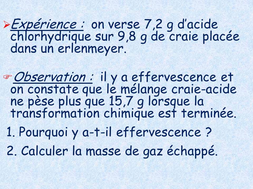 Expérience : on verse 7,2 g d'acide chlorhydrique sur 9,8 g de craie placée dans un erlenmeyer.