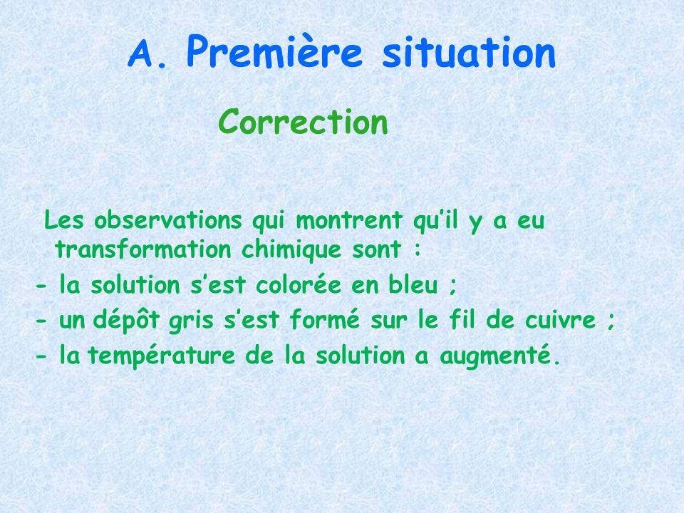 A. Première situation Correction