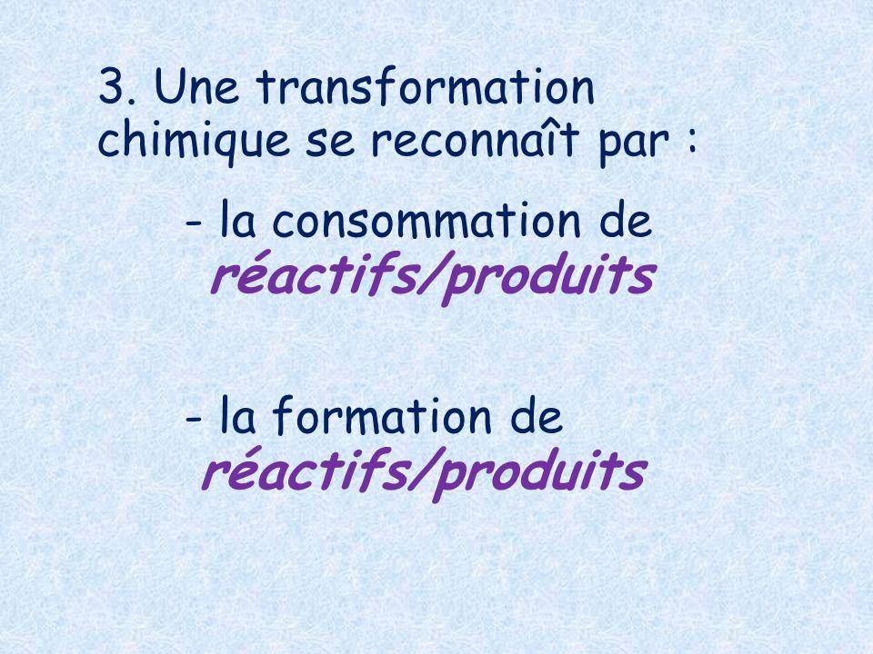 3. Une transformation chimique se reconnaît par :