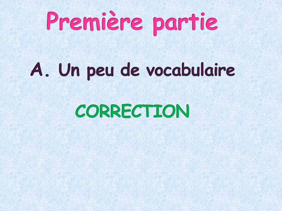 Première partie A. Un peu de vocabulaire CORRECTION
