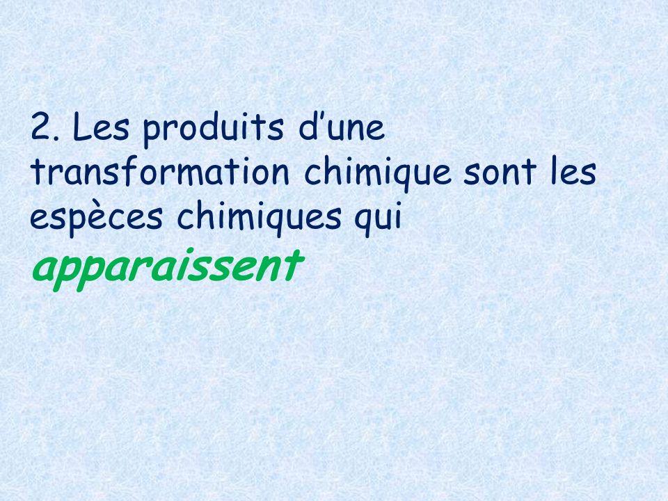 2. Les produits d'une transformation chimique sont les espèces chimiques qui apparaissent