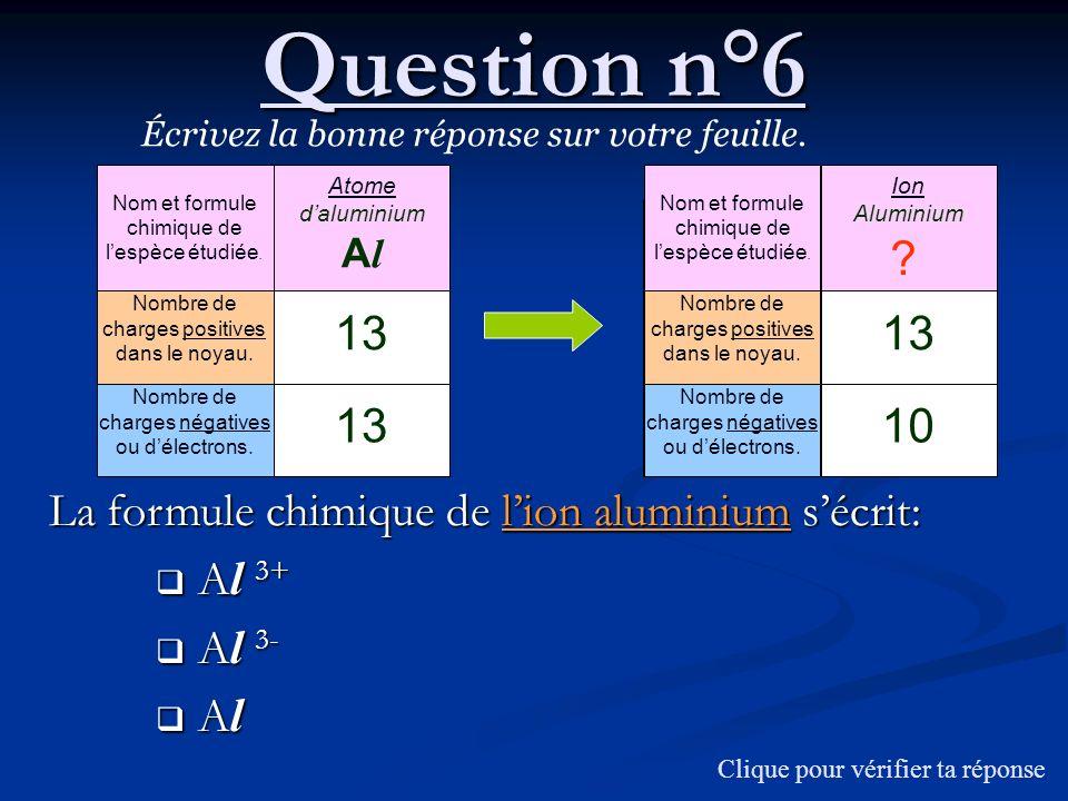 Question n°6 Écrivez la bonne réponse sur votre feuille. Nom et formule chimique de l'espèce étudiée.