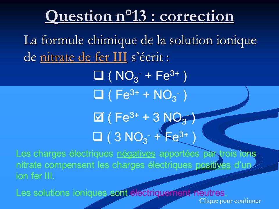Question n°13 : correction