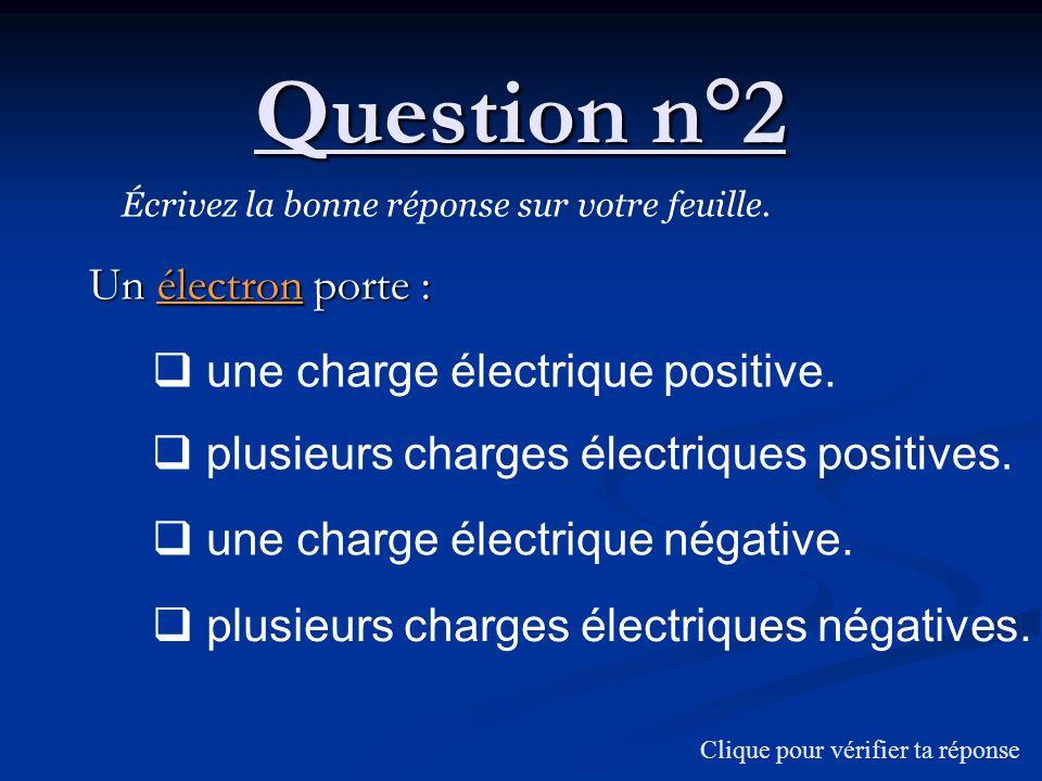 Question n°2 Un électron porte : une charge électrique positive.