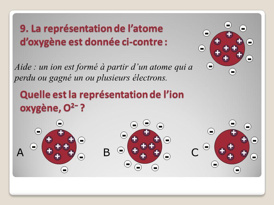 -+ Aide : un ion est formé à partir d'un atome qui a perdu ou gagné un ou plusieurs électrons.