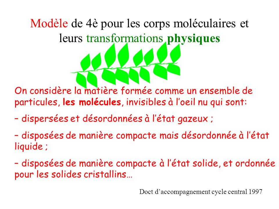 Modèle de 4è pour les corps moléculaires et leurs transformations physiques