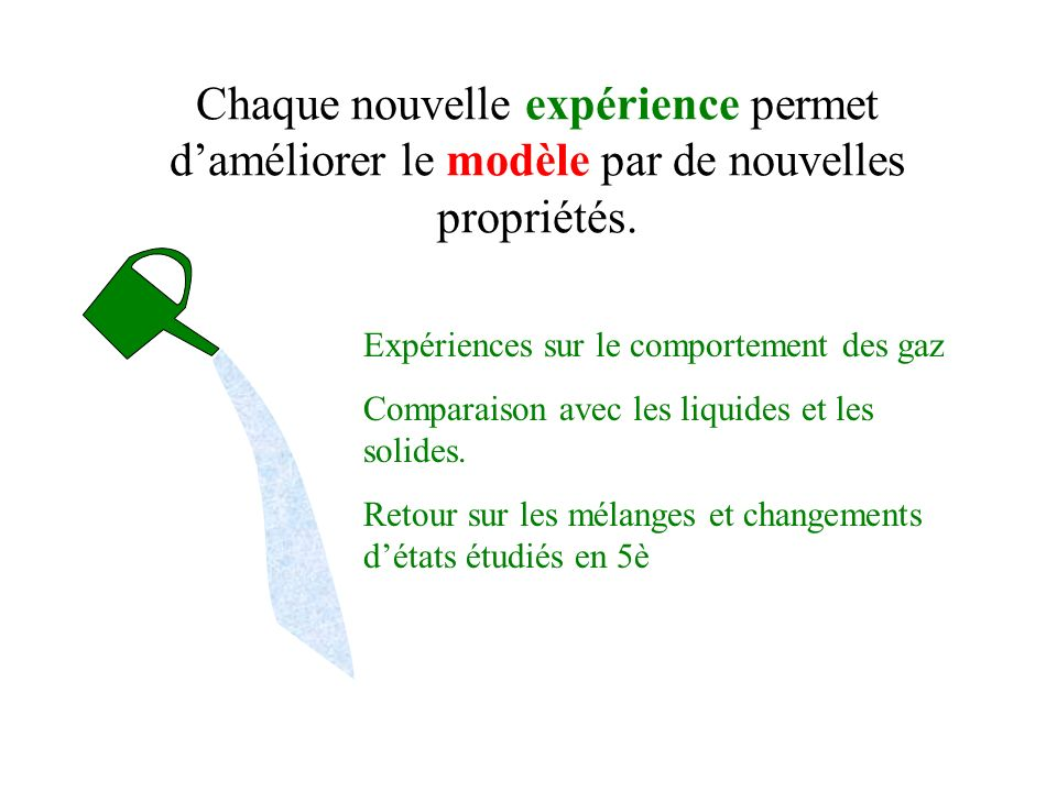 Chaque nouvelle expérience permet d'améliorer le modèle par de nouvelles propriétés.