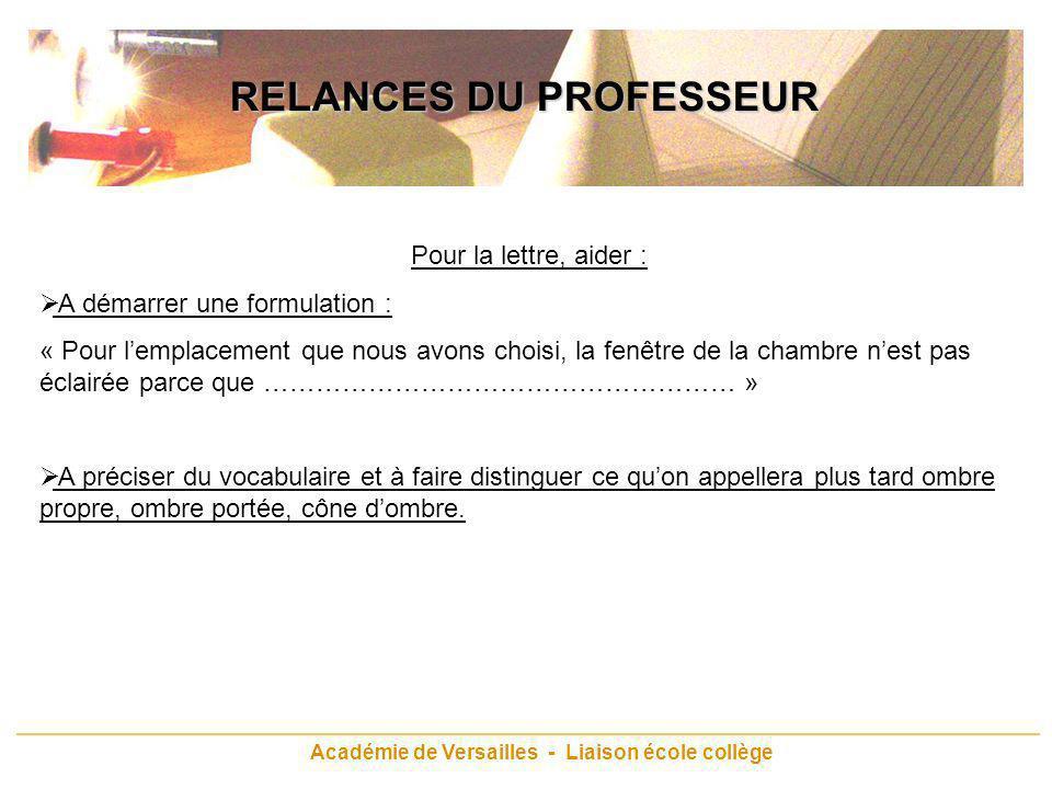 RELANCES DU PROFESSEUR Académie de Versailles - Liaison école collège