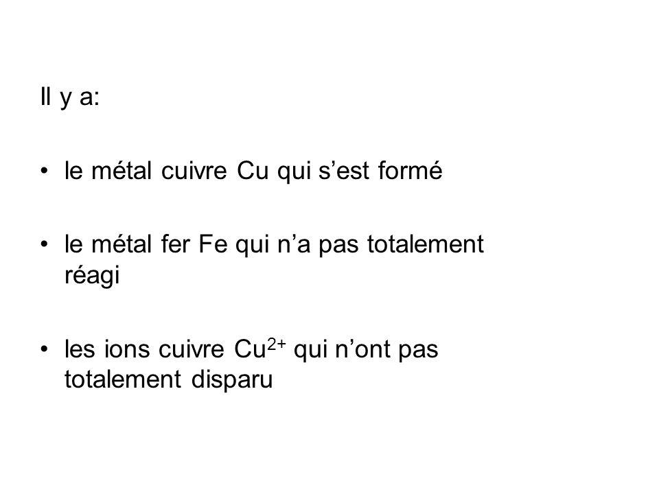 Il y a: le métal cuivre Cu qui s'est formé. le métal fer Fe qui n'a pas totalement réagi.