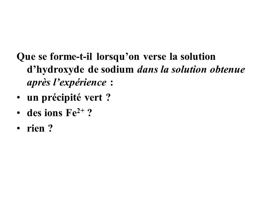 Que se forme-t-il lorsqu'on verse la solution d'hydroxyde de sodium dans la solution obtenue après l'expérience :