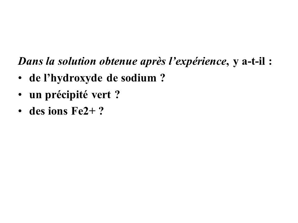 Dans la solution obtenue après l'expérience, y a-t-il :