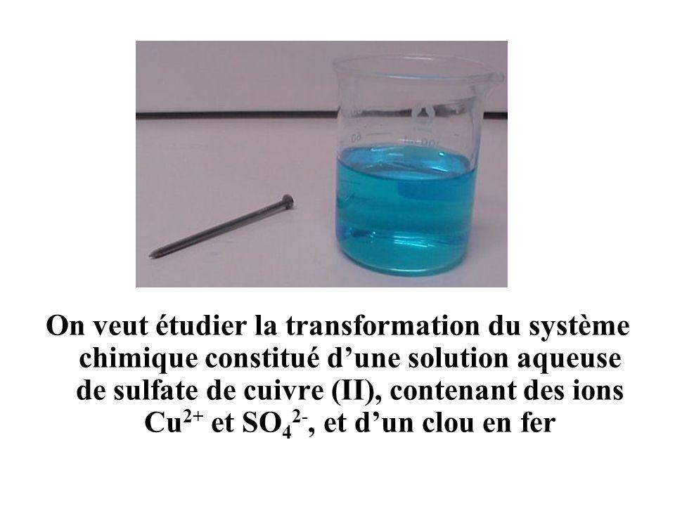 On veut étudier la transformation du système chimique constitué d'une solution aqueuse de sulfate de cuivre (II), contenant des ions Cu2+ et SO42-, et d'un clou en fer