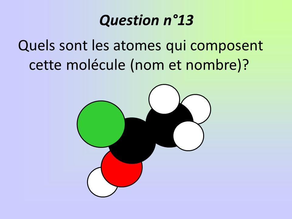 Question n°13 Quels sont les atomes qui composent cette molécule (nom et nombre)