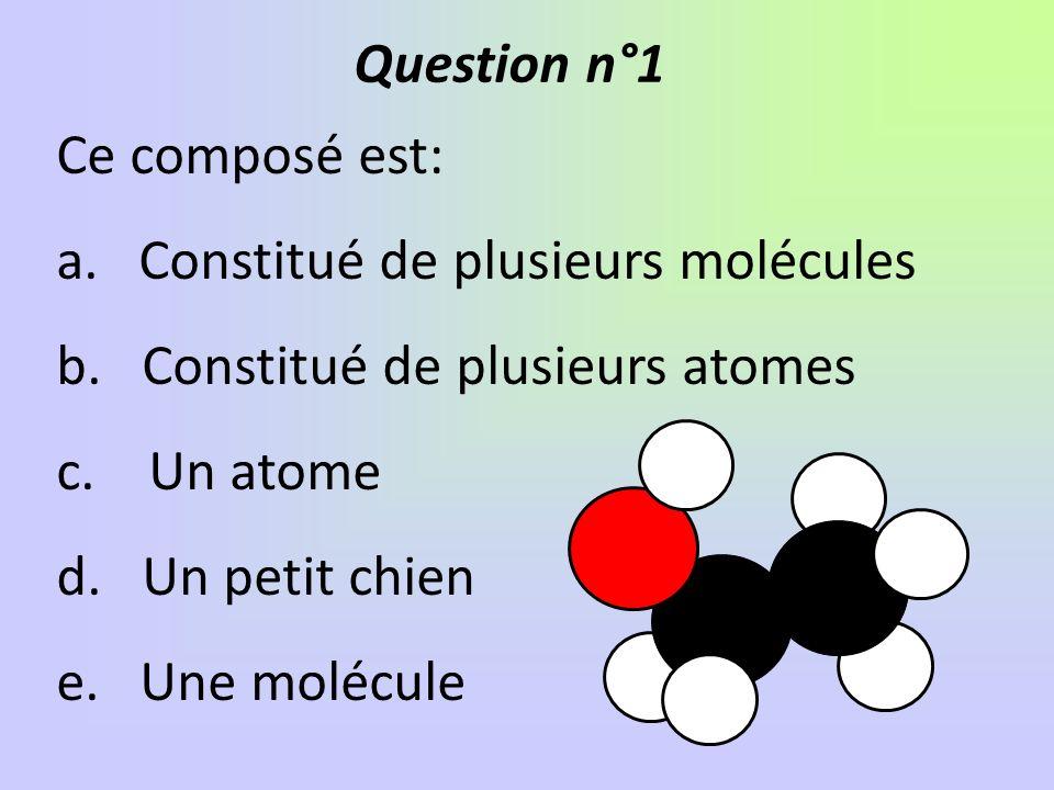 Question n°1 Ce composé est: Constitué de plusieurs molécules. Constitué de plusieurs atomes. Un atome.