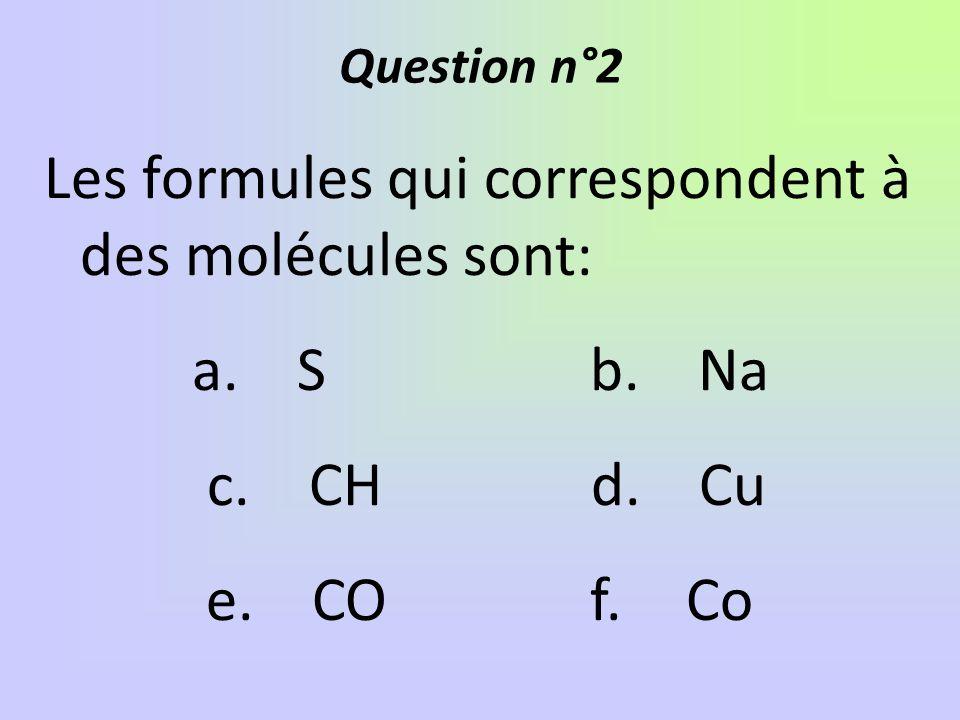 Les formules qui correspondent à des molécules sont: a. S b. Na