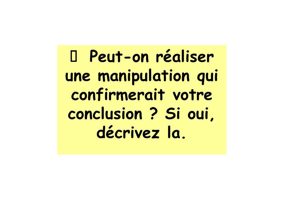 Ø Peut-on réaliser une manipulation qui confirmerait votre conclusion