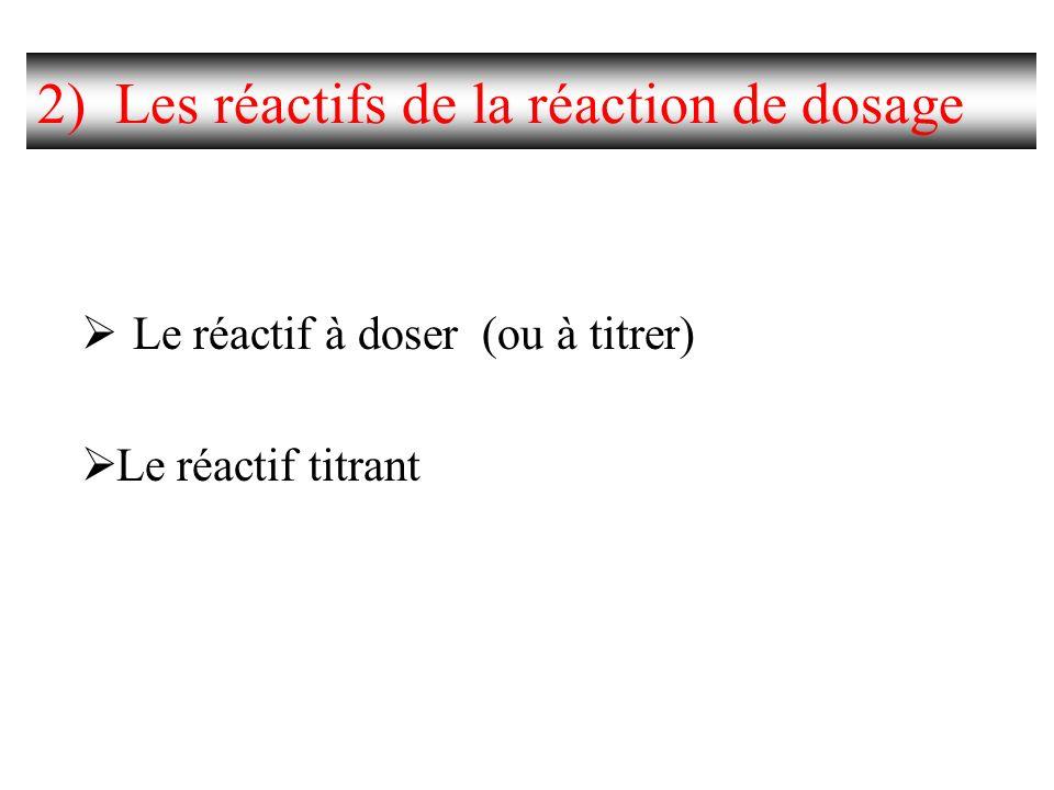 2) Les réactifs de la réaction de dosage