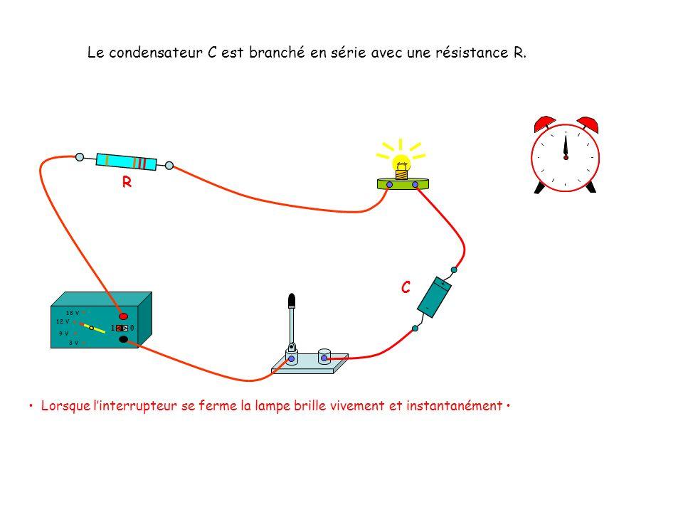 Le condensateur C est branché en série avec une résistance R.