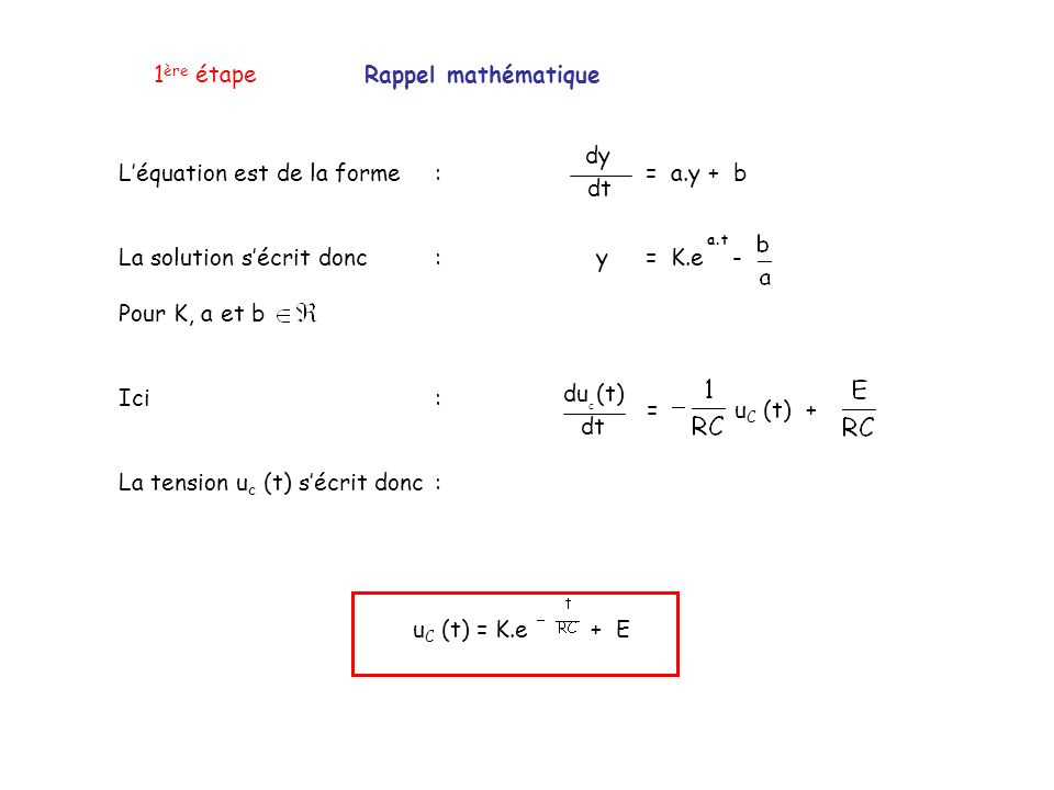 1ère étape Rappel mathématique