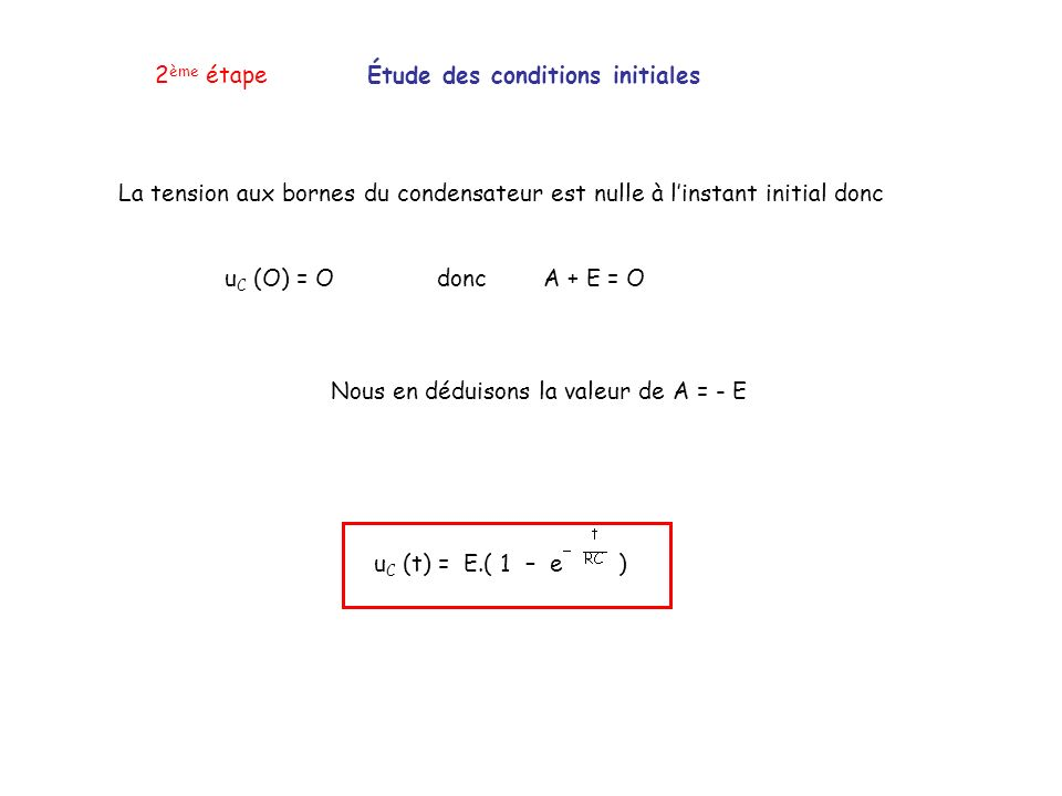 2ème étape Étude des conditions initiales