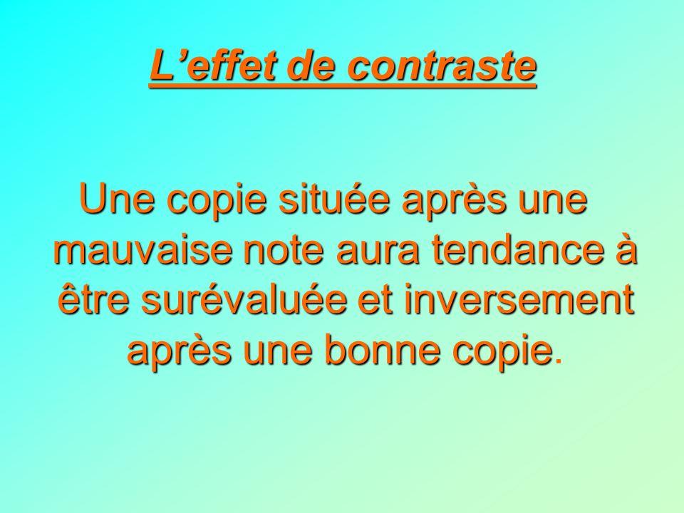 L'effet de contraste Une copie située après une mauvaise note aura tendance à être surévaluée et inversement après une bonne copie.