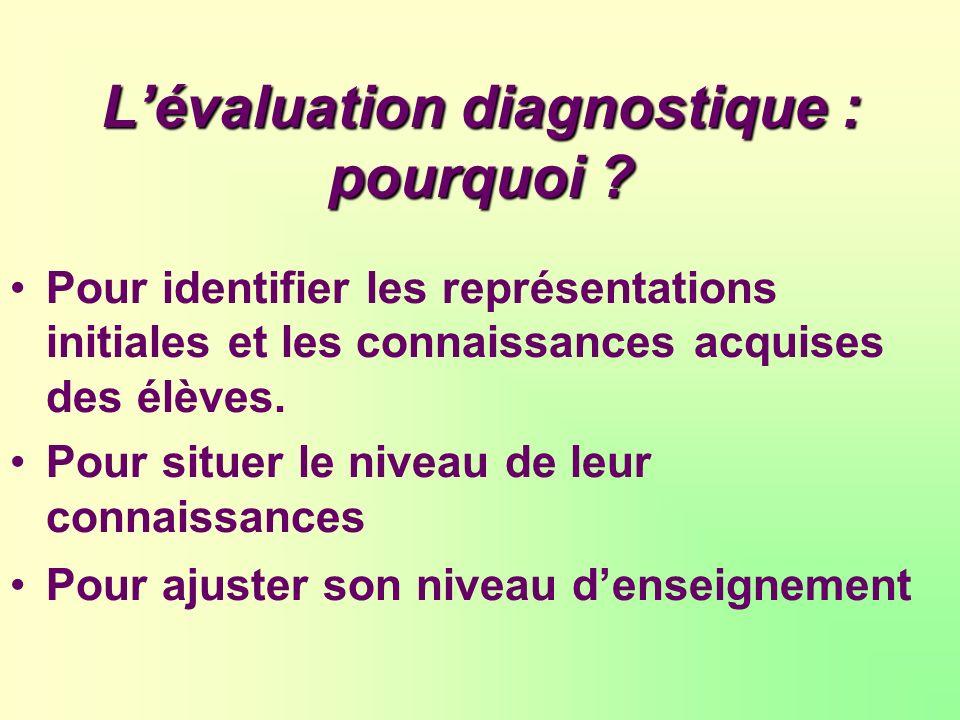 L'évaluation diagnostique : pourquoi