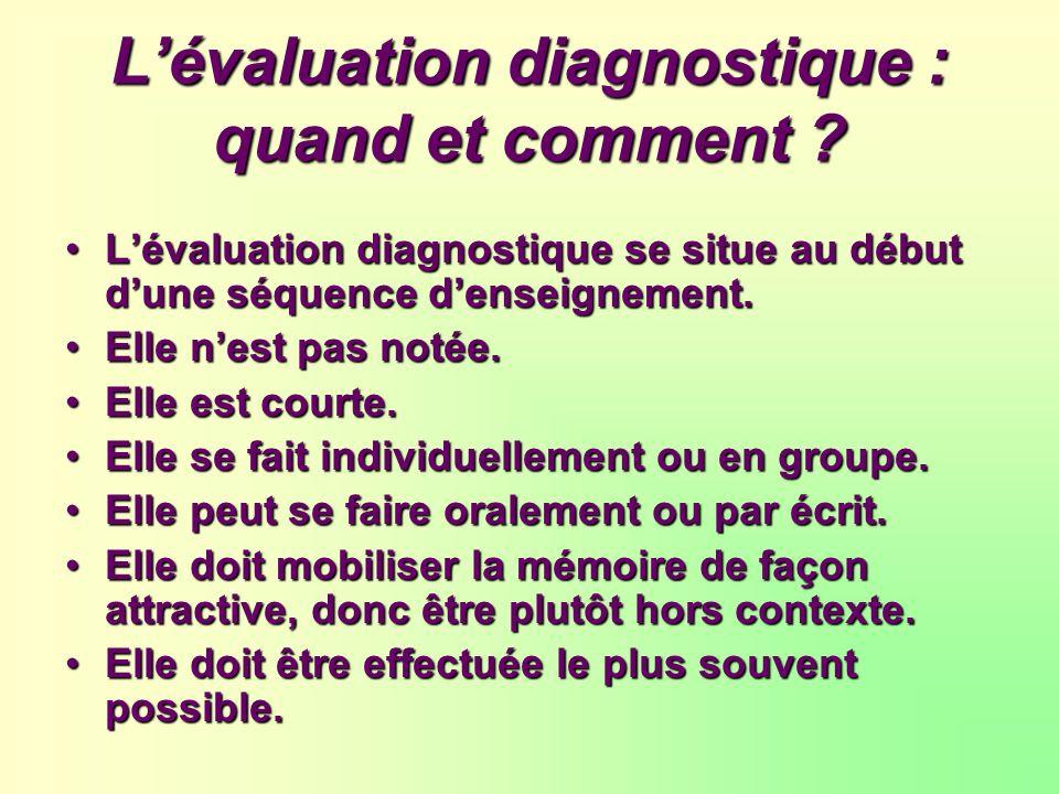 L'évaluation diagnostique : quand et comment