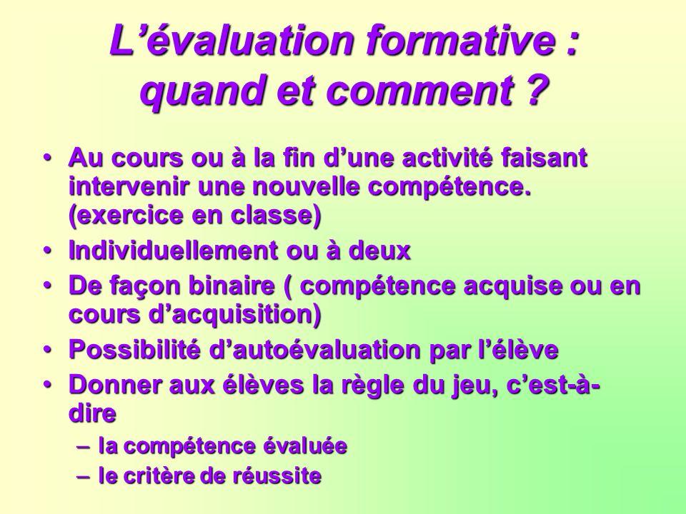 L'évaluation formative : quand et comment