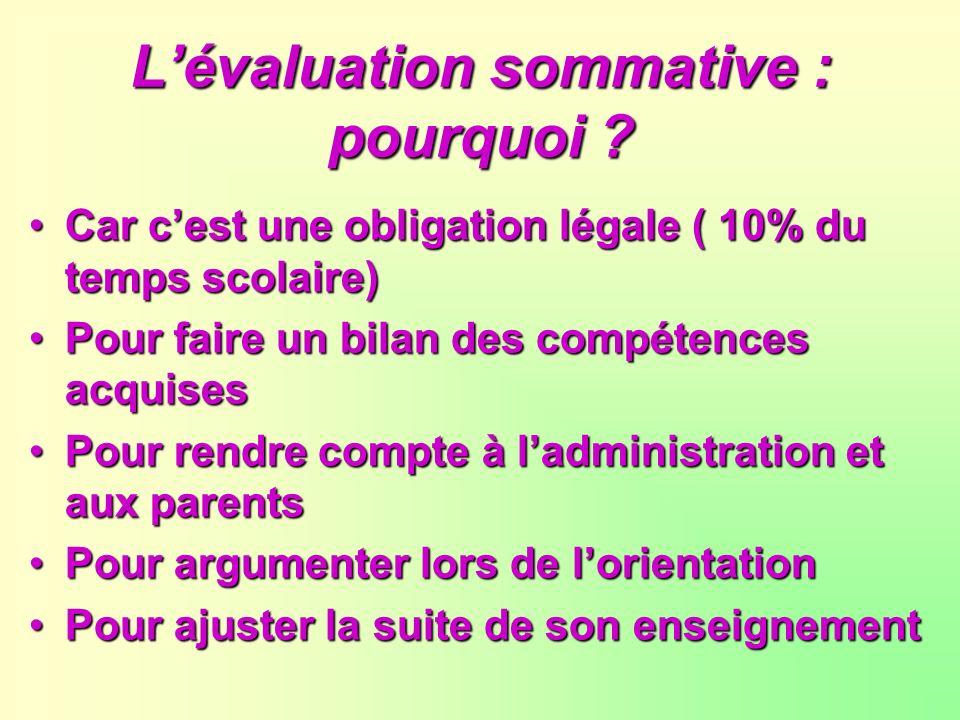 L'évaluation sommative : pourquoi