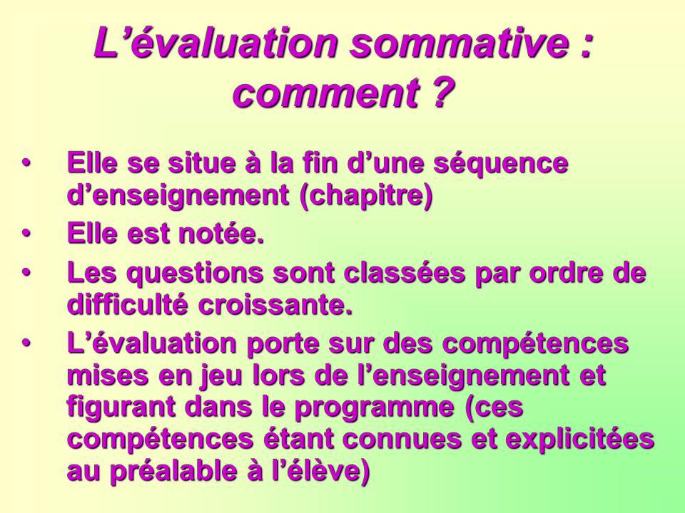 L'évaluation sommative : comment