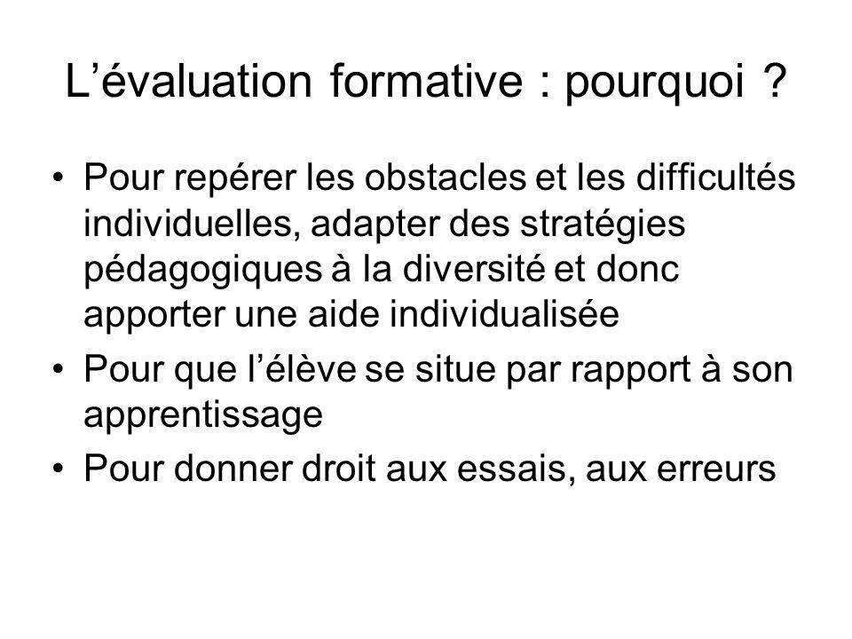 L'évaluation formative : pourquoi
