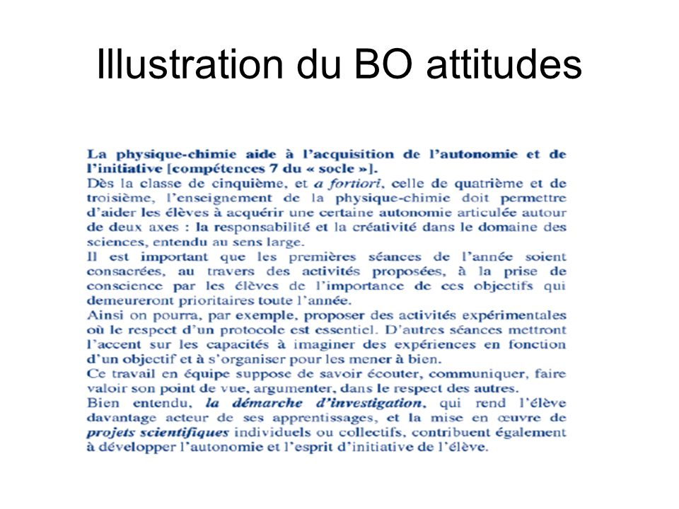Illustration du BO attitudes