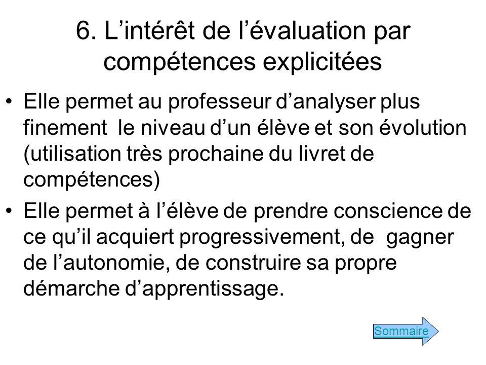 6. L'intérêt de l'évaluation par compétences explicitées