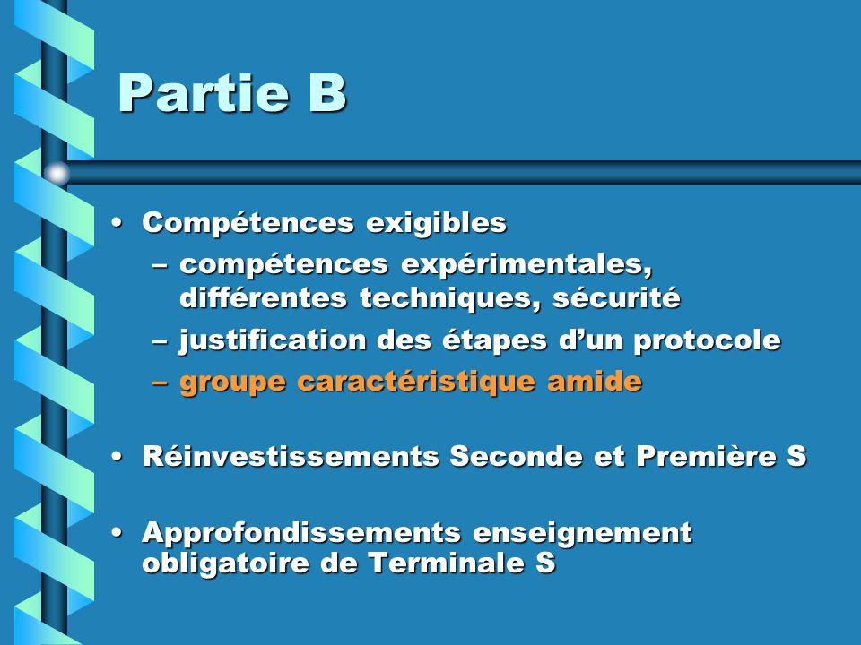 Partie B Compétences exigibles