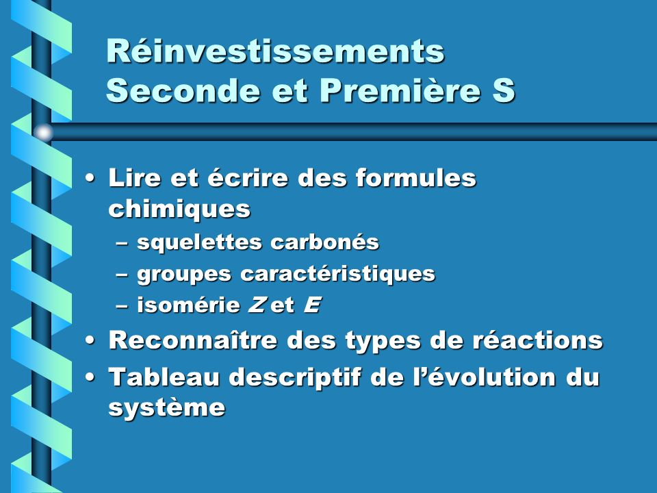 Réinvestissements Seconde et Première S