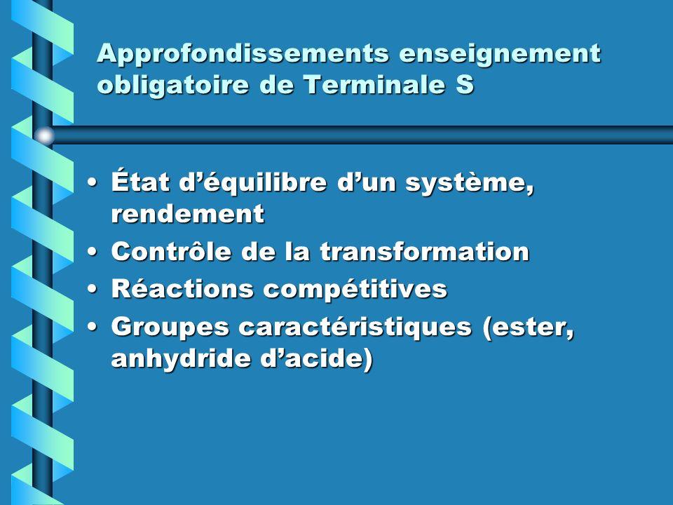 Approfondissements enseignement obligatoire de Terminale S