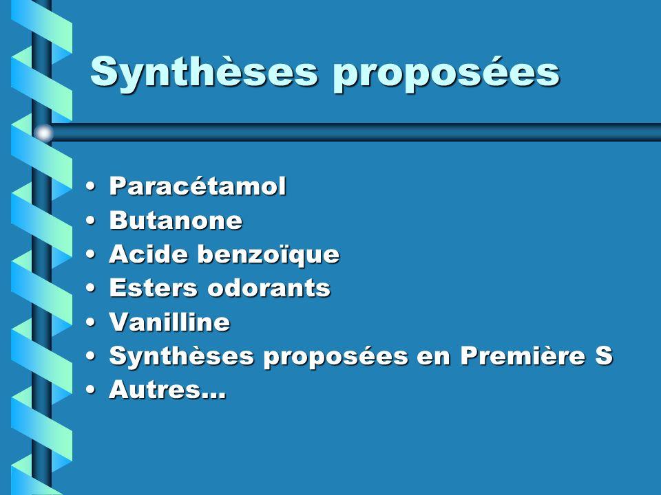 Synthèses proposées Paracétamol Butanone Acide benzoïque