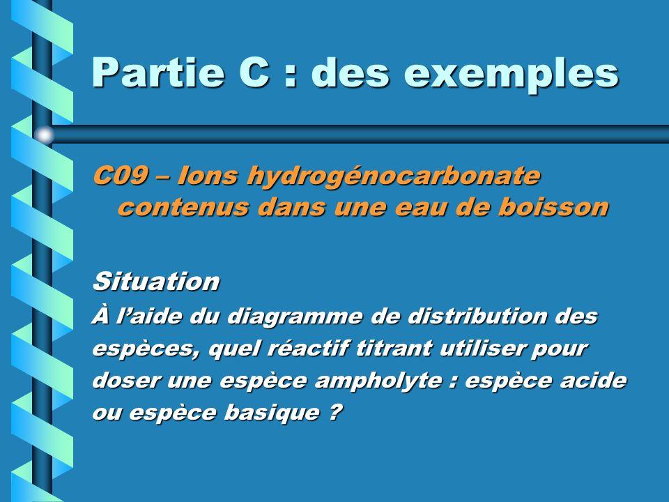 Partie C : des exemples C09 – Ions hydrogénocarbonate contenus dans une eau de boisson. Situation.