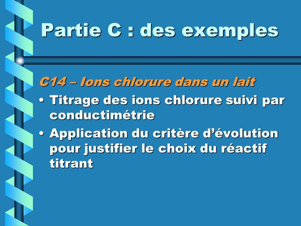 Partie C : des exemples C14 – Ions chlorure dans un lait