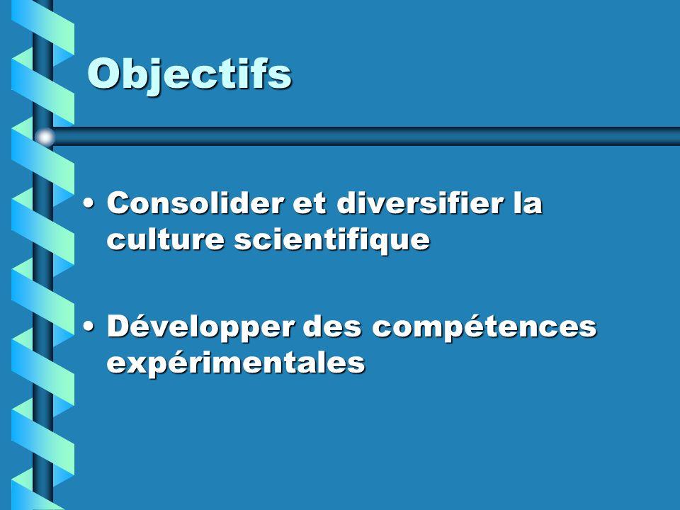 Objectifs Consolider et diversifier la culture scientifique