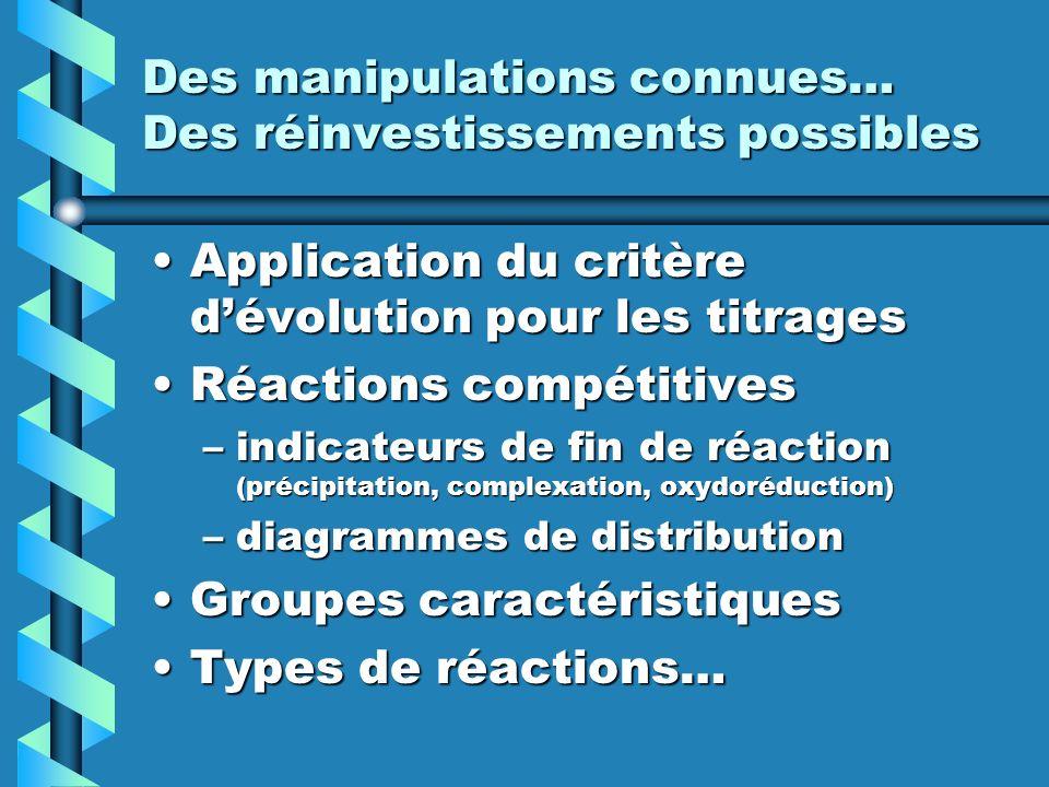 Des manipulations connues… Des réinvestissements possibles