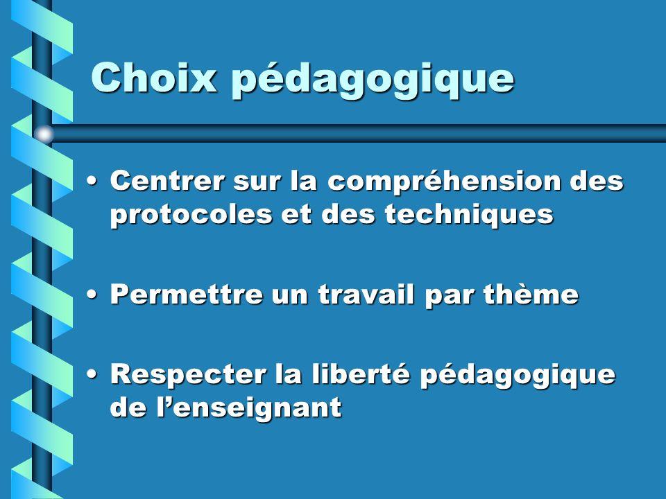 Choix pédagogique Centrer sur la compréhension des protocoles et des techniques. Permettre un travail par thème.
