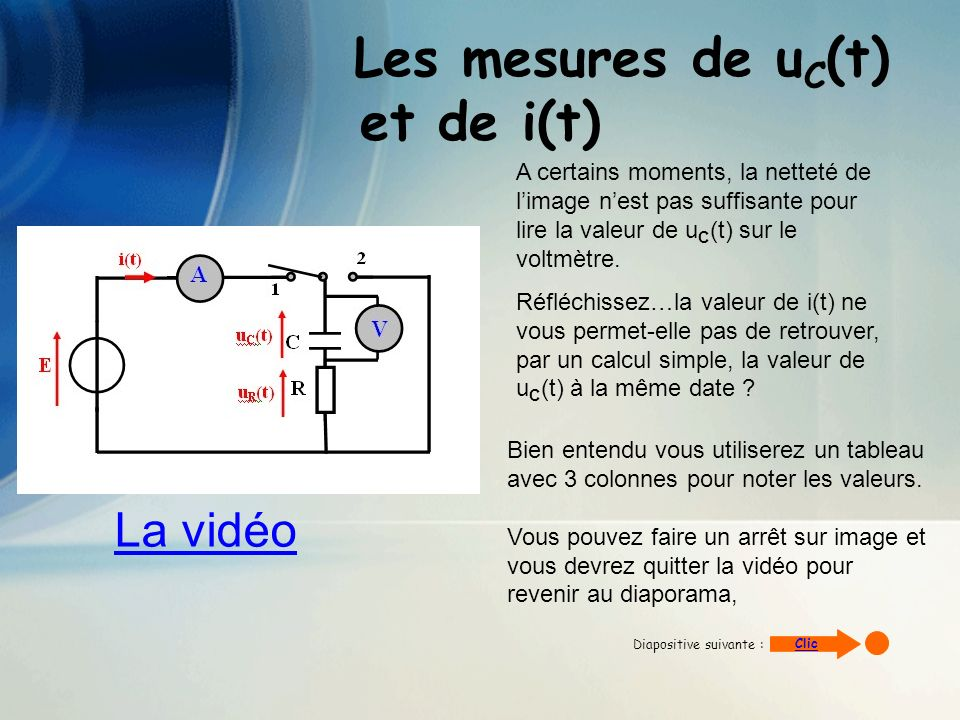 Les mesures de uC(t) et de i(t)